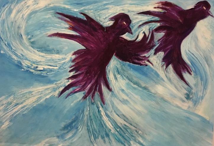 Vögel, Gouache auf Papier